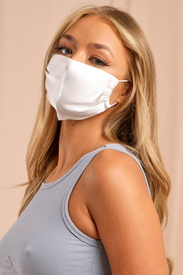 White Satin Adjustable Strap Fashion Face Mask
