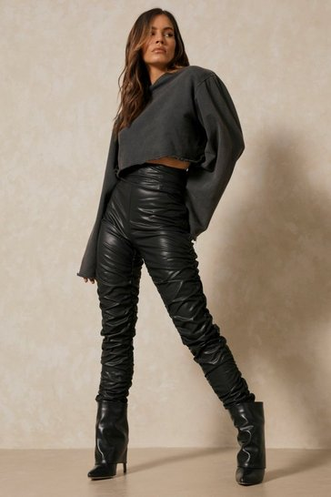 Black Leather Look Ruched Trouser