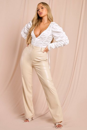 Cream Tia Ruched Satin Bodysuit