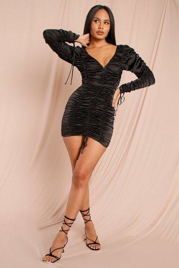 Black Tia Ruched Satin Bodycon Dress