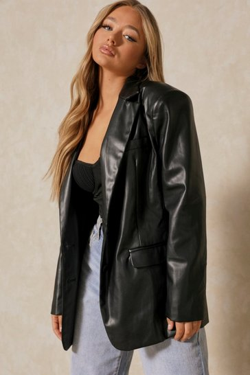 Black Tia Oversized Leather Look Blazer