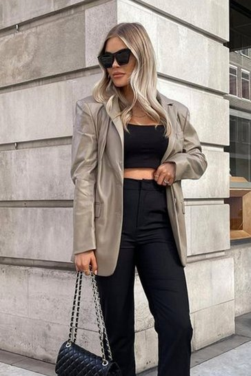 Stone Tia Oversized Faux Leather Blazer