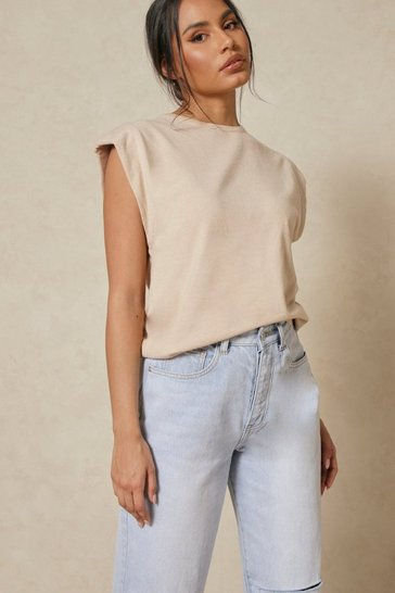 Grey Relaxed Fit Shoulder Pad Detail Jumper