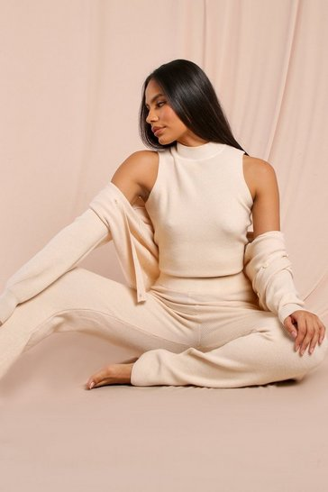 Cream Tia Fine Knit Relaxed Fit Trouser