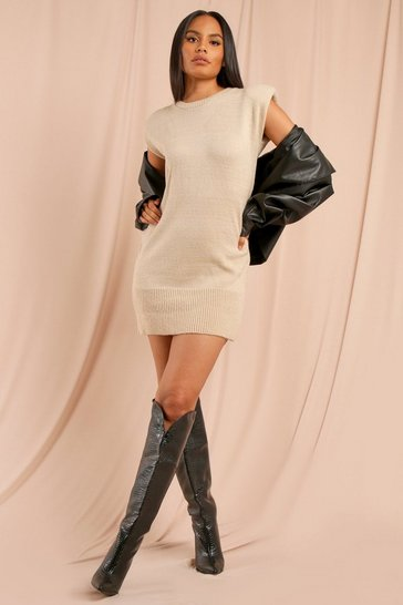 Biscuit Knitted Shoulder Pad Detail Jumper Dress