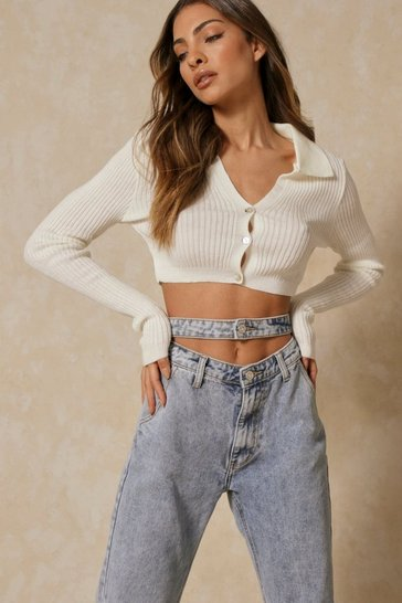 Cream Ribbed Collar Detail Cropped Jumper