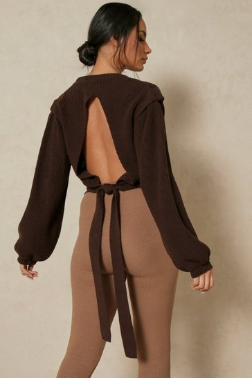 Chocolate Cut Out Tie Back Detail Jumper