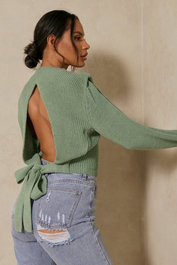 Sage Cut Out Tie Back Detail Jumper