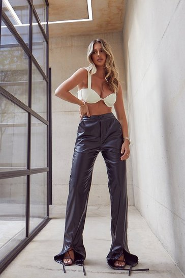 Black Tia Ruched Front Leather Look Trouser