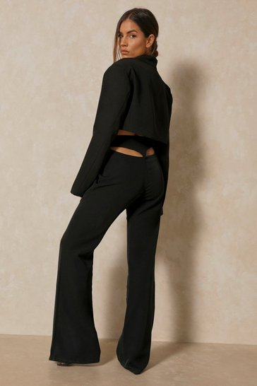 Black Tia Thong Cut Out Detail Trouser
