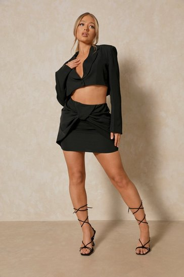Black Tia Twist Front Mini Skirt