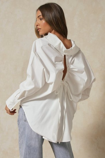 White Tia Oversized Ruched Cut Out Back Shirt