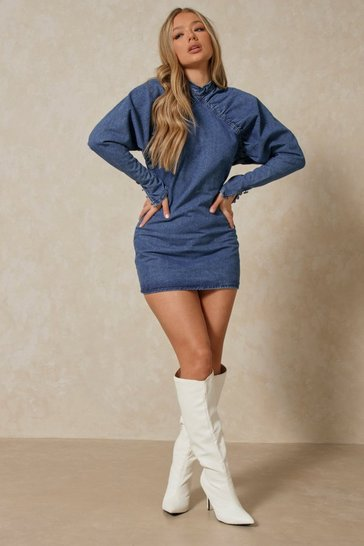 Mid blue Extreme Puff Sleeve Denim Dress