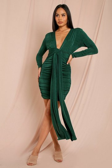 Emerald Extreme Plunge Tie Detail Mini Dress