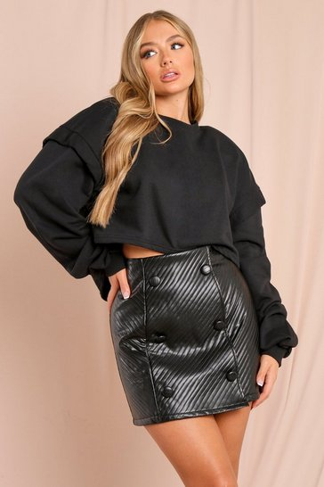 Black Quilted Leather Look Mini Skirt