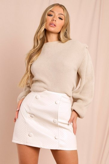 Cream Quilted Leather Look Mini Skirt