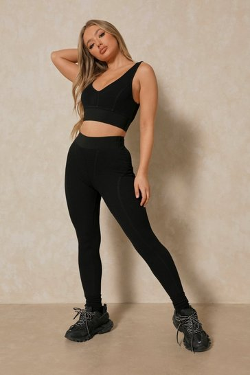 Black Tia Ribbed Deep Elastic Detail Legging
