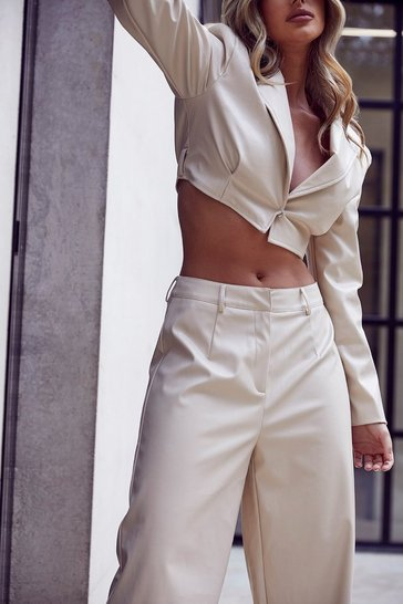 Cream Tia Cropped Leather Look Jacket