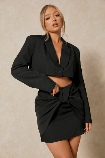 Black Tia Extreme Shoulder Pad Crop Blazer