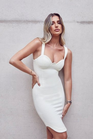 Cream Tia Quilted Jersey Cupped Bodycon Midi Dress