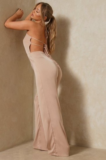 Stone Satin Tie Back Jumpsuit
