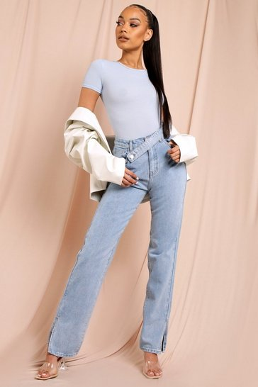 Mid wash Side Split Straight Leg Belted Waist Jean