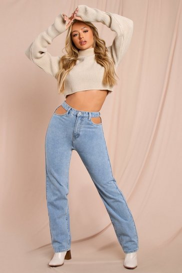 Mid wash Cut Out Straight Leg High Waisted Jean