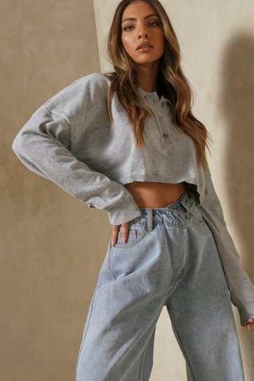 Grey Oversized Crop Polo Top