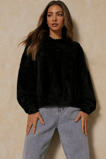 Black Oversized Feather Knit Dad Sweater