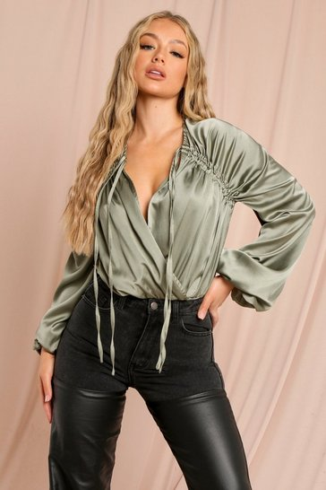 Sage Satin Double Ruched Sleeve Bodysuit