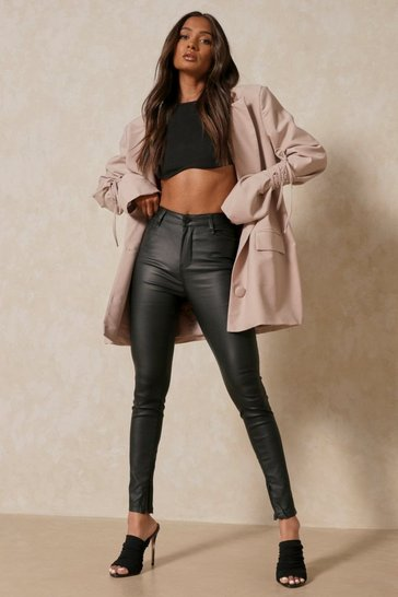 Black PU Zip Hem Trouser