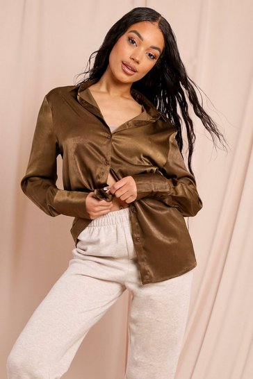 Stone Satin Deep Cuff Shirt
