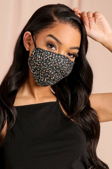Black Ditsy Print Filter Fashion Face Mask