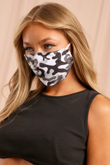 Black Camo Print Filter Fashion Face Mask