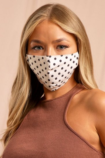 White Polka Dot Filter Fashion Face Mask