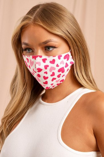 Pink Heart Print Filter Fashion Face Mask