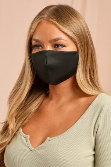 Satin Plain Black Filter Fashion Mask