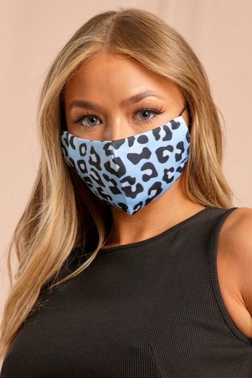 Satin Blue Leopard Filter Fashion Face Mask