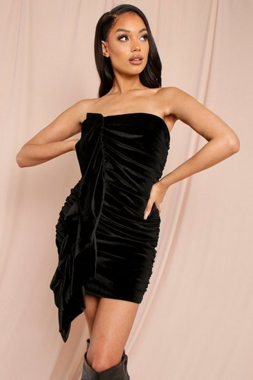 Black Velvet Extreme Ruched Arm Mini Dress