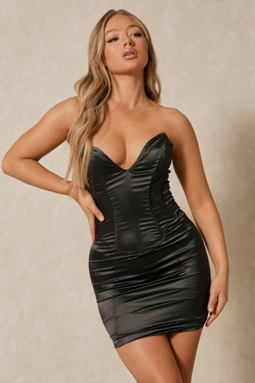 Black Satin V Plunge Corset Mini Dress