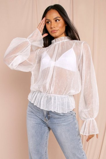 White Sheer Volume Frill Detail Oversized Shirt