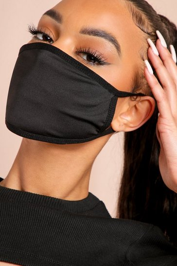 Black 7 Pack Plain Fashion Face Mask