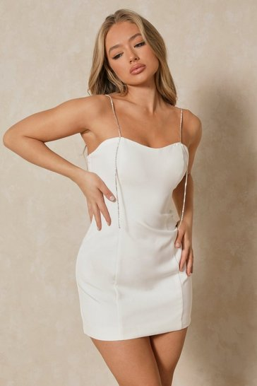 White Diamante Strap Detail Mini Dress