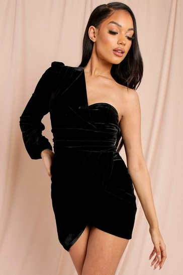 Black Velvet One Shoulder Mini Dress