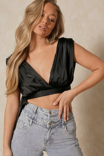 Black Satin Plunge Tie Back Crop Top