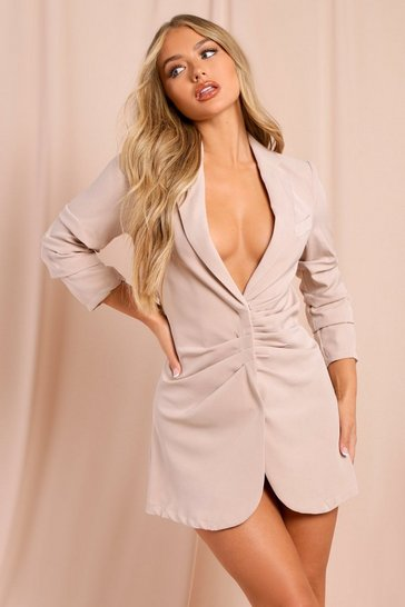 Stone Gathered Front Blazer Dress