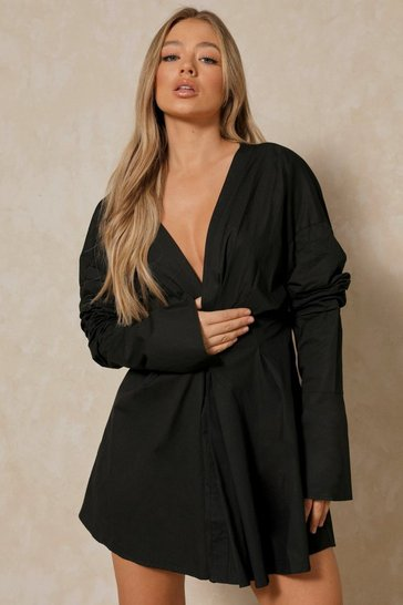 Black Plunge Front Gathered Sleeve Shirt Dress