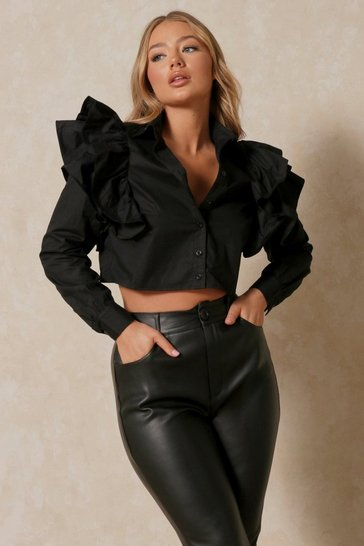 Black Ruffled Shoulder Detail Shirt