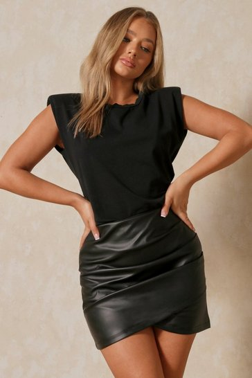 Black Leather Look Pleated Wrap Detail Mini Skirt