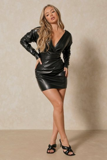 Black Leather Look Plunge Puff Sleeve Dress